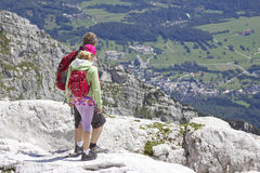 Tourists  in the Julian Alps Royalty Free Stock Photos