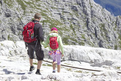 Tourists  in the Julian Alps Royalty Free Stock Images