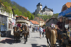 Tourists at Karlstejn Castle - Czech Republic. Tourists at royal gothic castle Karlstejn founded 1348 by Charles IV, Holy Roman Emperor-elect and King of Bohemia Royalty Free Stock Images
