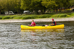 Tourists kayaking river Dordogne France. royalty free stock images