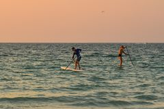 Tourists kayaking on the sea at sunset stock images