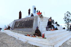 Tourists on Kelimutu royalty free stock photography