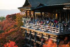 Tourists at Kiyomizu Dera temple in Kyoto, Japan Royalty Free Stock Photography