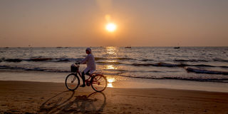 Tourists at kolava beach goa Royalty Free Stock Images