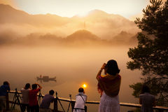 Tourists and landscape Royalty Free Stock Photos