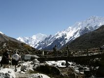 Tourists in Langtang Trekking Royalty Free Stock Photos