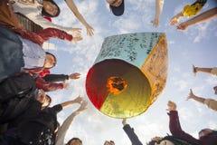 Tourists Launching Sky Lantern Along Railway Next to Shifen Trai Stock Photo