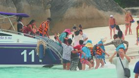 Tourists leave speed-boat. They came on a trip to the Similan Islands stock video