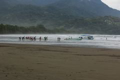 Ballena National Park, Costa Rica. Tourists leaving for a boat trip, whale sightseen in Ballena National Park, Costa Rica Stock Photo