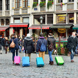 Tourists leaving Brussels Stock Images