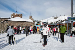 Tourists leaving Gornergrat train before skiing Royalty Free Stock Image