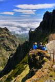 Madeira Mountains Hiking. Hikers on mountain trail. Madeira island, Portugal Stock Photos
