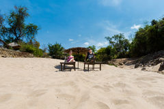 Tourists on Li Phi waterfall Royalty Free Stock Images