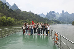 Tourists on the Li River Stock Images