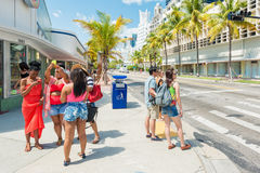 Tourists at  Lincoln Road in Miami Beach Royalty Free Stock Images