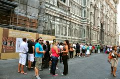 Tourists line in Florence, Italy Stock Image