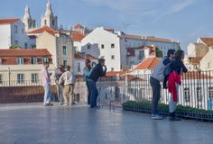 Tourists in Lisbon View of Santa Justa Elevator Royalty Free Stock Images