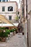 Tourists in Little tipical  street in the old town of Dubrovnik Royalty Free Stock Images