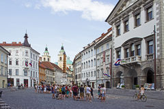 Tourists in Ljubljana Slovenia Royalty Free Stock Image