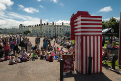 Tourists in Llandudno watching Punch and Judy Stock Photos