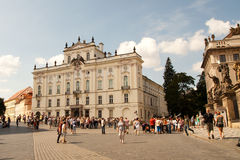 Tourists at Lobkowicz Palace in Prague Castle Royalty Free Stock Photo