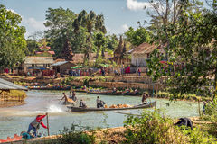 Tourists and locals in the ancient city  of Ava, also called Inwa Stock Photo