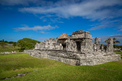 Tourists and locals enjoying a sunny day at the Tulum ruins Stock Photo
