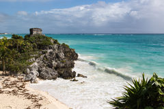 Tourists and locals enjoying a sunny day at the Tulum ruins in Tulum City, Mexico Royalty Free Stock Photos
