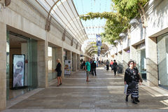 Tourists and locals at Jerusalem's Mamilla shopping street Royalty Free Stock Photography