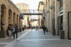 Tourists and locals at Jerusalem's Mamilla shopping street Stock Photos