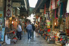 Tourists and locals at Jerusalem's old city market Royalty Free Stock Image