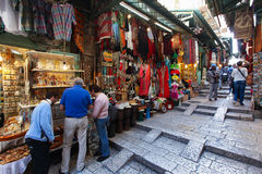 Tourists and locals at Jerusalem's old city market Royalty Free Stock Photos