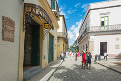 Tourists and locals in Old Havana Stock Images