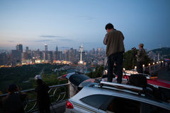 Tourists and locals photographed evening Dalian Royalty Free Stock Photography