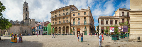 Tourists and locals at San Francisco Square in Old Havana Stock Images