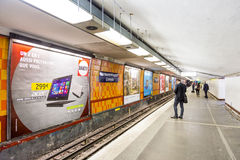 Tourists and locals on a subway train in Paris Royalty Free Stock Photo