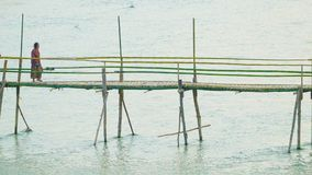 Tourists and locals use a small bamboo bridge across the river stock video