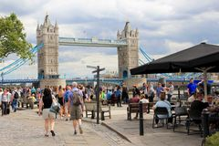 Tourists in London, Tower Bridge Royalty Free Stock Image