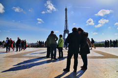 Tourists look at the Eiffel Tower from the Trocadero Stock Photos