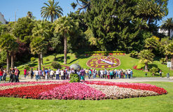 Tourists looking at the flower clock Reloj de Flores in Vina d Royalty Free Stock Photos
