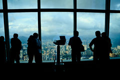 Tourists Looking At Hong Kong City View Stock Photo