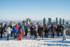 Tourists looking at Montreal Skyline stock photos