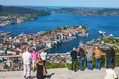 Tourists looking out over the city Bergen in Norway Royalty Free Stock Photo
