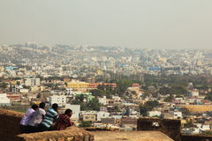 Tourists looking out over Indian city Stock Photography