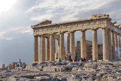 Tourists looking Parthenon ancient temple Stock Image