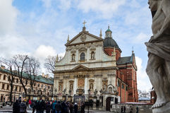 Tourists looking at the Saints Peter and Paul Church in Krakow, Poland Royalty Free Stock Image