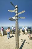 Tourists looking at view of Cape Point, Cape of Good Hope, outside Cape Town, South Africa and sign pointing to Berlin, Rio De Jan Royalty Free Stock Photo