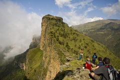 Tourists looking at the view in simien national park, ethiopia Royalty Free Stock Photo