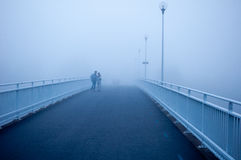 Tourists lost in the fog in Oulo, Finland Royalty Free Stock Photo