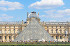 Tourists at Louvre Museum in Paris, France Royalty Free Stock Photo